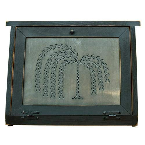 Country Rustic Primitive Bread Box Willow Tree Tin Wood