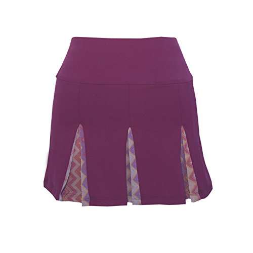 Peachy Tan Inverted Pleat Skirt with Chevron Mesh Insert