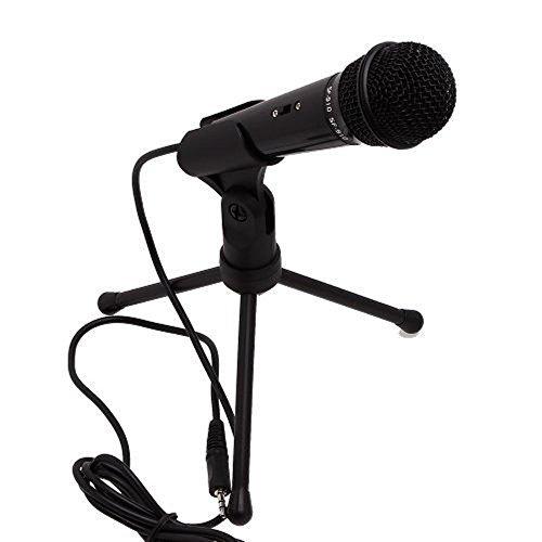 TEMO Stereoscopic Condenser Sound Microphone 3.5mm Studio with Stand for Audio Recording - Black-1 [並行輸入品]   B07F65QFCZ