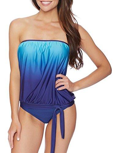 Zando Womens Sexy Plus Size Bandeau Blouson Tankini with Breifs Two Piece Swimsuit Sporty Bikini Bathing Suit for Teens Marine Blue XL (US (Sexy Female Marine)