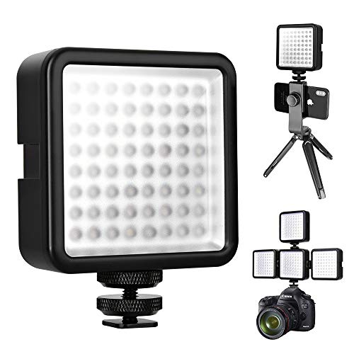 LED Camera Light - 64 LED 5600K Dimmable Video Light Ultra Bright Portable Lightweight Camera Camcorder Video Light Panel with Durable Hot Shoe Mount for Canon Nikon Camera DV ()