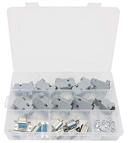 D-sub Connector Housing - 5 Pair DB9 9 Pin Male and Female Solder Type Adapter Connectors with 10 Set Gray Plastic Cover Shell Housing for D-Sub DB9 9 Pin Connector Assortment Kit