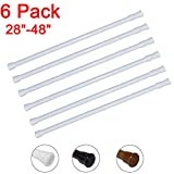 6 Pack Spring Tension Curtain Rod Adjustable Length for Kitchen, Bathroom, Cupboard, Wardrobe, Window, Bookshelf DIY Projects