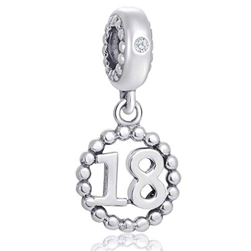 (Number Bracelet Charms - 925 Sterling Silver Pendants/Beads Fit Pandora Charm Bracelets, Necklace, and European Snake Chain, Dangling/Dangle Charm for Birthday (Number 18))