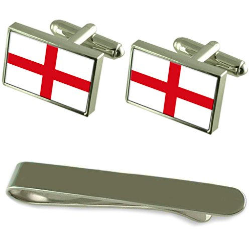 England ''St George?s Cross'' Flag Silver Cufflinks Tie Clip Engraved Gift Set by Select Gifts