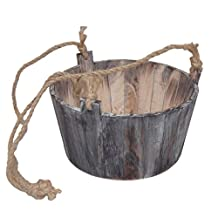 Round Wooden Planter with Rope Handle