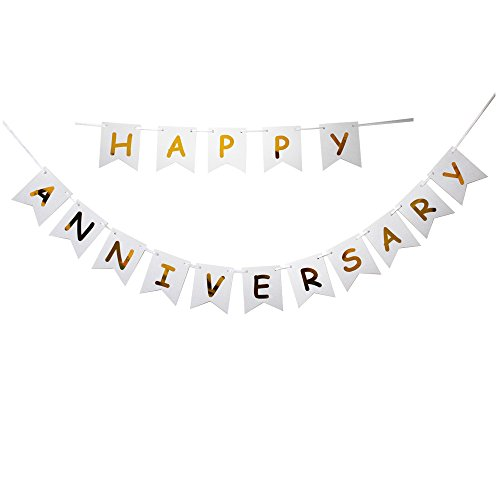 (Happy Anniversary Banner, Gold Foiled for Wedding Anniversary Party Decoration, Photo Props,Anniversary Ceremony Banner)