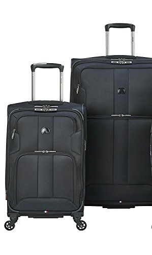 Delsey Luggage Sky Max 2 Piece Nested Luggage Set, Black