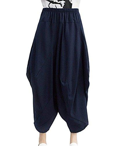 Palloncino Pantaloni Moda Pantaloni Pantaloni Stoffa Eleganti Estivi Donna Di Pantaloni A Cintura Pantaloni Elastica Abbigliamento Baggy Pantaloni Harem Libero Tempo Chic Monocromo Ragazza Marine Aladin 7wHBz5q