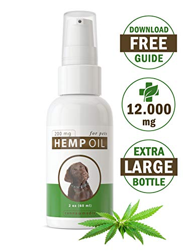 Canna Medis Premium Hemp Oil for Dogs with Anxiety, Cancer, Arthritis, Pain, Seizures, Inflammation. 2 oz, Concentrated Cannabis Extract, 200 mg Per Dose, for Up to 2 Months, 100% Pure, -
