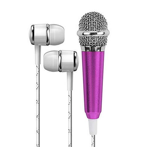 Insaneness Mini Karaoke Condenser Microphone with&Earphone for Phone Computer Mini Microphone (Purple)