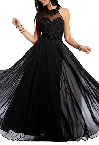(Chiffon Embroidery Black Halter Open Back Sleeveless A-line Floor Length Prom/Homecoming)