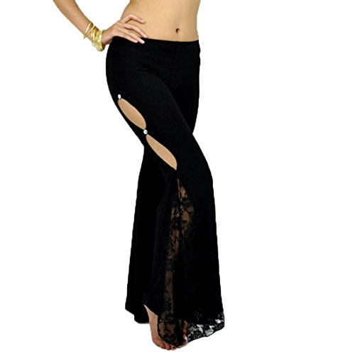 Calcifer Solid Lace Side Slits Belly Dance Pants Costume Dancewear for Women Professional Dancer (Black)]()