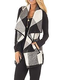 Women Vintage Plaid Wide Lapel Cardigan Waistcoat Vest Outerwear