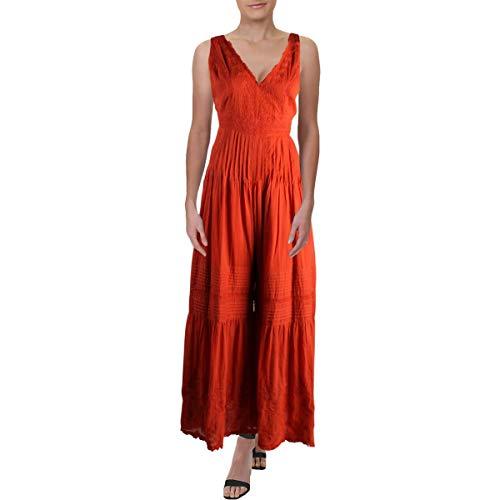 Orange Jumpsuit - Free People Womens Paloma Cotton Pleated
