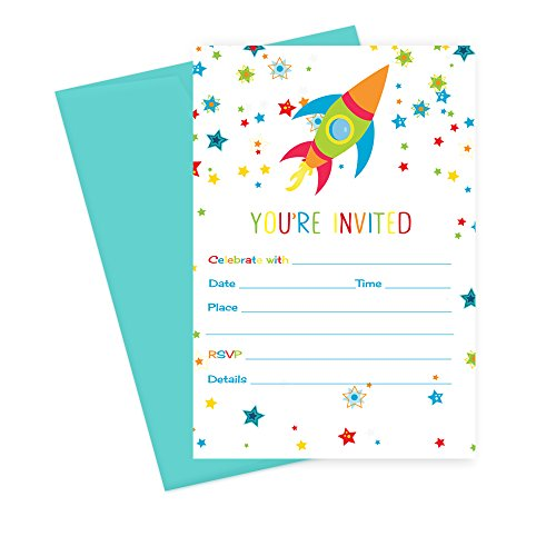 Space Birthday Party Invitations with Aqua Envelopes ( 15pc. )