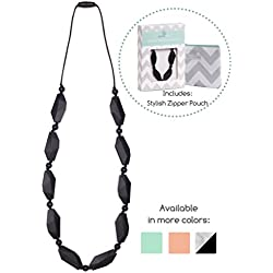 Goobie Baby Naomi Silicone Teething Necklace for Mom to Wear, Safe BPA Free Beads to Chew - Black