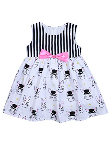 Hipealy Easter Day Baby Girl 2T 3T 4T 5T Summer Outfit Toddler Girl Bunny Sleeveless Striped with Bowknot Dress 3T White]()