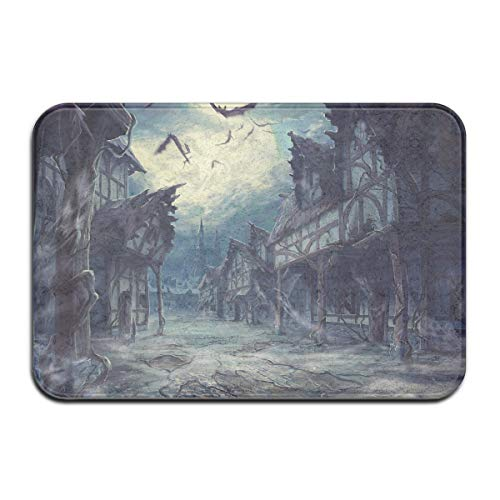 C-Emily Street Clouds Night Moon House Halloween Horror Dark Bats Non Slip Doormat Floor Mat Home Decor Carpet Indoor Rectangle Bathroom Bedroom Entrance Doormat 16