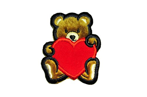 Altotux Fuzzy Furry Brown Teddy Bear Red Velvet Heart Embroidered Sew on Patch Applique By Pieces