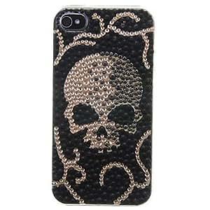 Skull Pattern Zircon Sticker Back Case for iPhone 4/4S