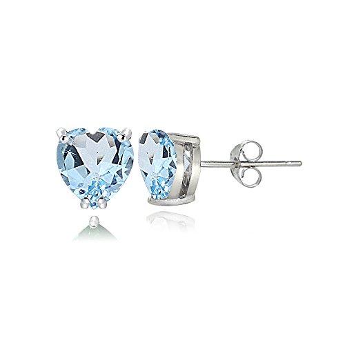 Sterling Silver Blue Topaz 5mm Heart Stud Earrings