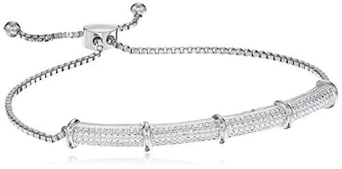 Fine Silver Plated Bronze Diamond Accent Bar Bolo Adjustable Bracelet, 9
