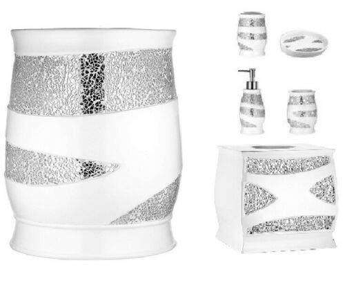 6 Piece Sinatra Resin Bath Accessory Set, Cracked Glass, White