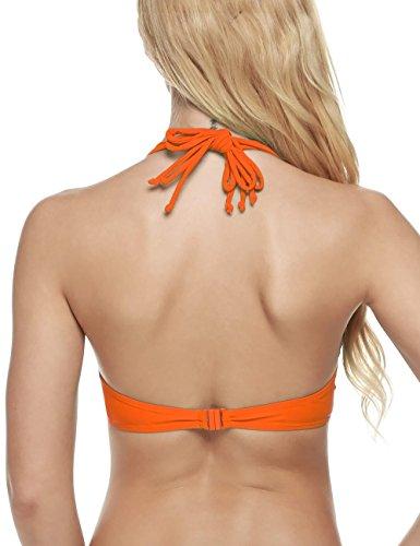 Coorun Mujer Bañador Bikini Deportivo Halter push up Sujetador Rellenado con aro Naranja