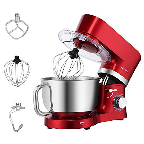 ROVSUN 5.8 Quart Stand Mixer, 660W 6-Speed Electric Tilt-Head Kitchen Food Mixer with Stainless Steel Bowl, Dough Hook…