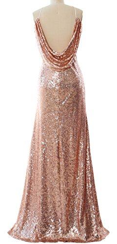 MACloth Women Halter Sequin Long Bridesmaid Dress Cowlback Evening Formal Gown Azul Real