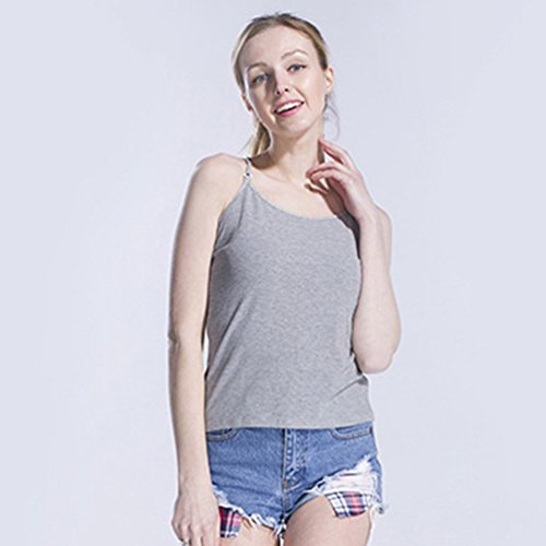 Sronjn Camiseta Deportiva de Tirantes Para Mujer Sin espalda Tank Tops Gris # 1