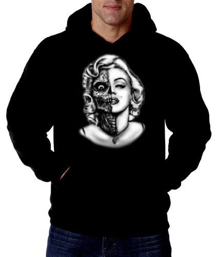 Marilyn Monroe Men's Hooded Sweatshirt Sugar Skull Zombie Gangsta Black Hoodie Black,X-Large
