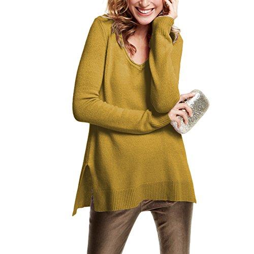 Parisbonbon Women's 100% Cashmere V-Neck Sweater Color Goldenrod Size 2X (Gold Cashmere V-neck Sweater)