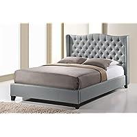 Baxton Studio Norwich Linen Modern Platform Bed, King, Grey