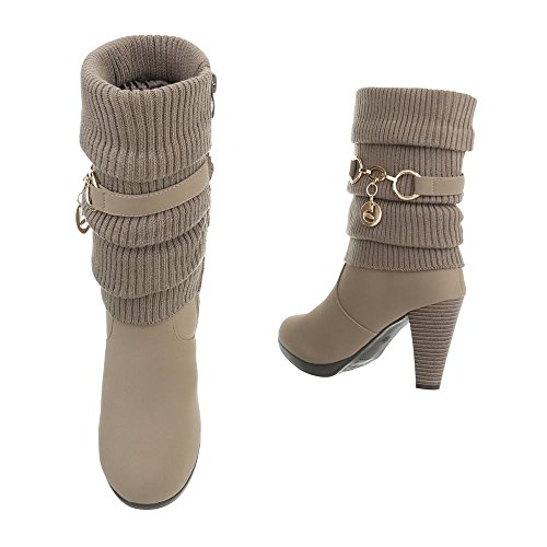 High Heel Stiefeletten Damenschuhe High Heel Stiefeletten Pfennig-/Stilettoabsatz High Heels Reißverschluss Ital-Design Stiefeletten Hellbraun B2929-HB