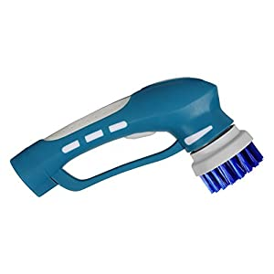 EVERTOP Brosse de Nettoyage électrique sans fil portable, avec 4 brosse de rechange kit de nettoyage pour salle de bain, Cuisine, Vaisselle, Bleu(Piles non compris)