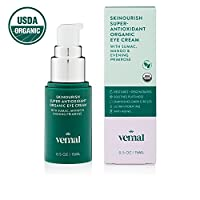 Vernal SKINourish  Super Antioxidants Organic Eye Cream for Puffiness, Wrinkles, Dark Circles With Organic Primrose, Mango, Cocoa, Aloe. Best Natural Anti Aging Eye Cream 0.5 oz