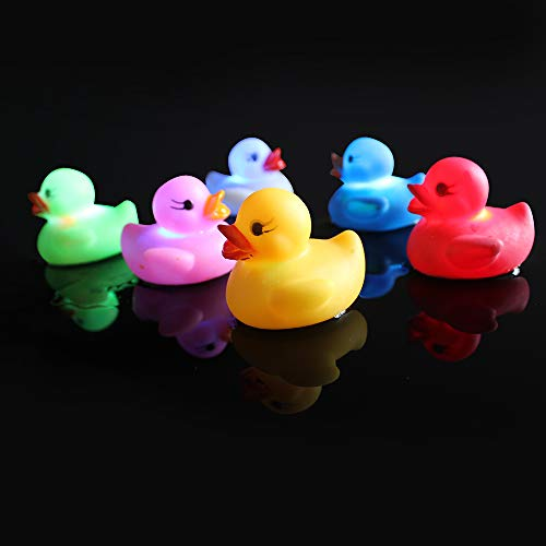 (Bath Ducks Light-Up Bath Toys Flashing Light (6 Pack) Baby Shower Tub Toys Color Changing in Water for Babies)