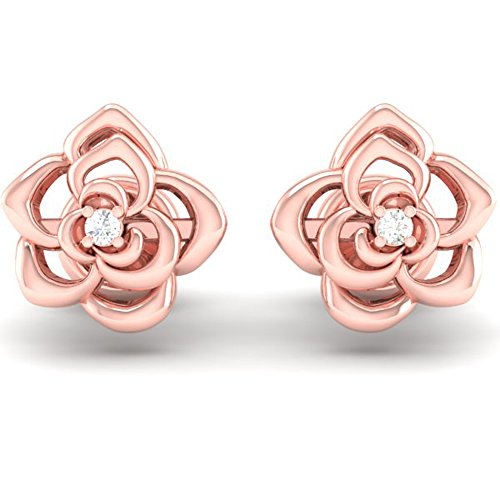 Dazzlingrock Collection 0.02 Carat (ctw) 14K Round Cut White Diamond Ladies Flower Shaped Stud Earrings, Rose Gold ()