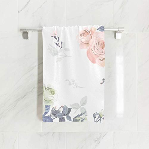 (SUABO Pink Rose Branch Hand Towel Dish Towels Cotton Face Towel 30x15 inch Gym Yoga Towels for Bath Decor)