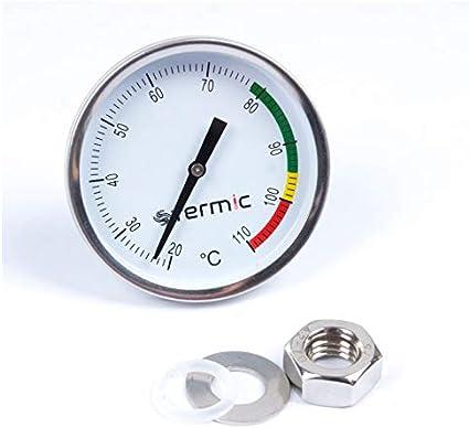 Stainless Steel Thermometer - Alcofermbrew Termómetro de Acero Inoxidable 20-110 °C para Barbacoa, alambique, Columna Fija, Calentador de Agua, ahumadero