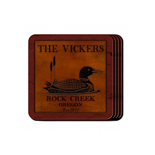 Personalized Cabin Series Coaster Set - Loon Coaster - Set Series Cabin Coaster