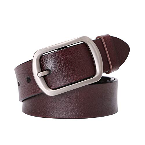 (Genuine Leather Belts For Women Vintage Ladies Retro Jeans Waist Belt With Metal Pin Buckle Ladies Real Bull Leather Dress Belt For Pants)