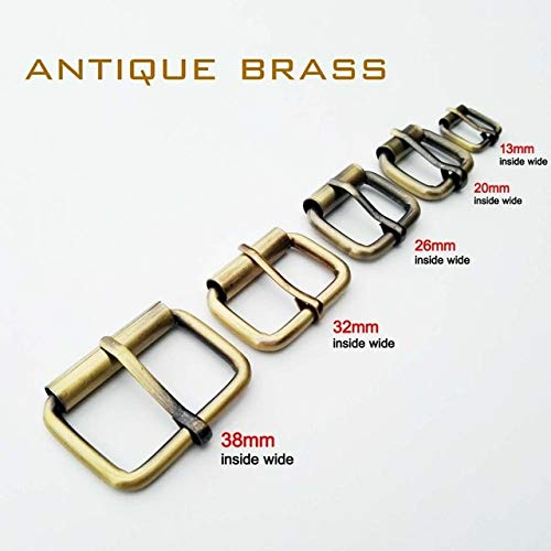 Buckles - DIY Metal Heavy Duty Hand Bag Shoe Strap Belt Web Adjust Roller Pin Buckle Snap Rectangle Ring Leather Craft Repair Thickness - (Size: Inner 32mm, Color: Antique Brass)