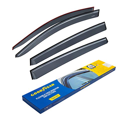 Goodyear Shatterproof Side Window Deflectors for Toyota RAV4 SUV 2013-2018, Tape-on Rain Guards, Vent Window Visors, 4 Pieces - GY003117