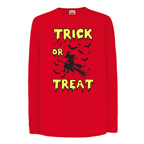 T-shirt for kids Trick or Treat - Halloween Witch - Party outfites - Scary costume (12-13 years Red Multi Color)