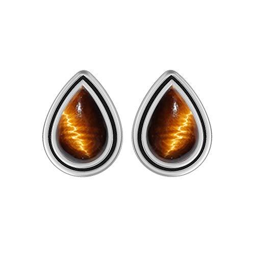 Genuine Pear Shape Tiger Eye Stud Earrings 925 Silver Plated Handmade Oxidized Finish Jewelry For Women Girls ()