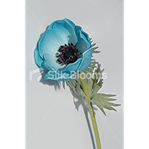 Single Artificial Fresh Touch Turquoise Anemone, Silk Poppy 101