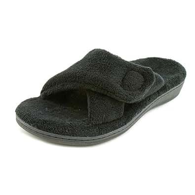 Vionic Relax Slipper Womens Size 5 Black Open Toe Textile Scuffs Shoes